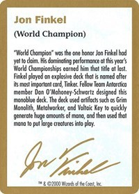 2000 Jon Finkel Biography Card - World Championship Decks