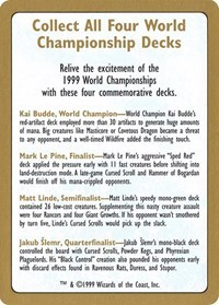 1999 World Championship Advertisement Card - World Championship Decks