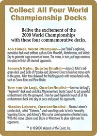 2000 World Championship Advertisement Card - World Championship Decks
