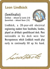 1996 Leon Lindback Biography Card - World Championship Decks
