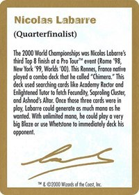 2000 Nicolas Labarre Biography Card - World Championship Decks